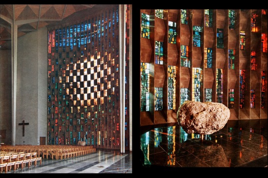 Baptistery windows by Piper and Reyntiens at Coventry Cathedral.