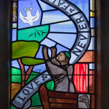 Detail from memorial window at Batcombe